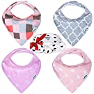 LovePink Baby Girl Bandana Drool Bibs by Pashoshi - 4 Pack of Cute Absorbent Cotton / Fleece Bibs with Free Feminine Headband - Modern & Fashionable Baby Gift Set for Girl Infant - 5 Star Product