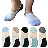 Mens No Show Socks 5 Pack Casual Invisible Low Cut Thin Loafers Non Slip Heel Flat Boat Liners Socks