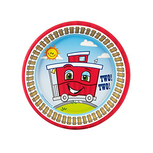 2nd Birthday Train Party Supplies - Dessert Plates (8)]()