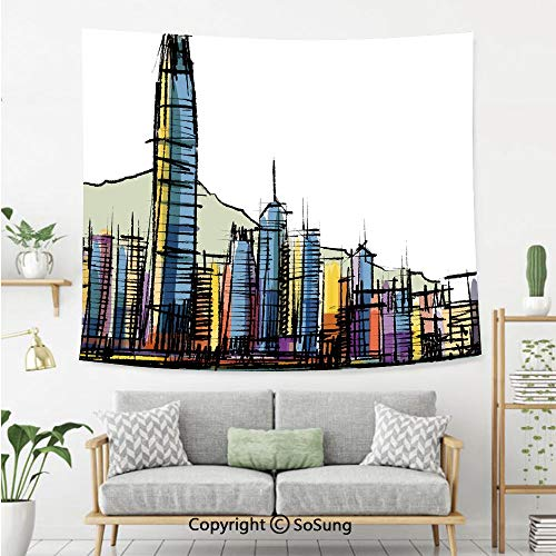SoSung Modern Wall Tapestry,Sketch Style Asian Hong Kong City Buildings with Tall Skyscrapers Urban Cartoon Art Decorative,Bedroom Living Room Dorm Wall Hanging,92X70 Inches,Multicolor