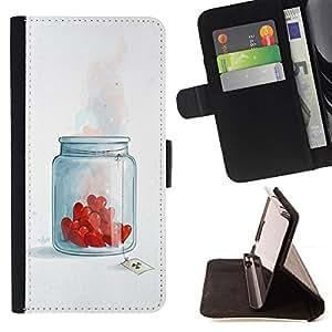 - Jar Of Love Hearts/ Personalizada del estilo del dise???¡¯???¡Ào de la PU Caso de encargo del cuero del tir???¡¯????n del s - Cao - For Sony Xperia Z1 L
