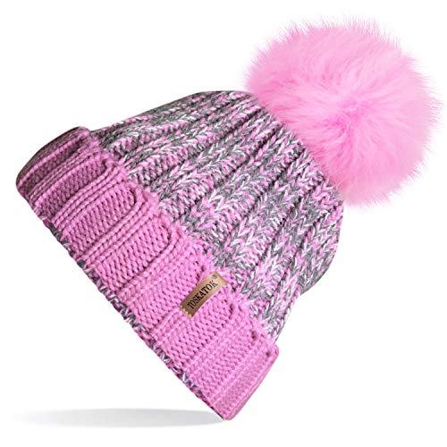 13150ebf607 TOSKATOK®Womens Winter Rib Knitted Hat Beanie with Detachable Chunky ...