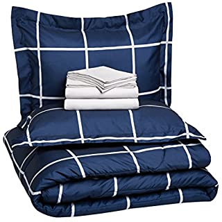 AmazonBasics 7-Piece Light-Weight Microfiber Bed-In-A-Bag Comforter Bedding Set - Full or Queen, Navy Simple Plaid
