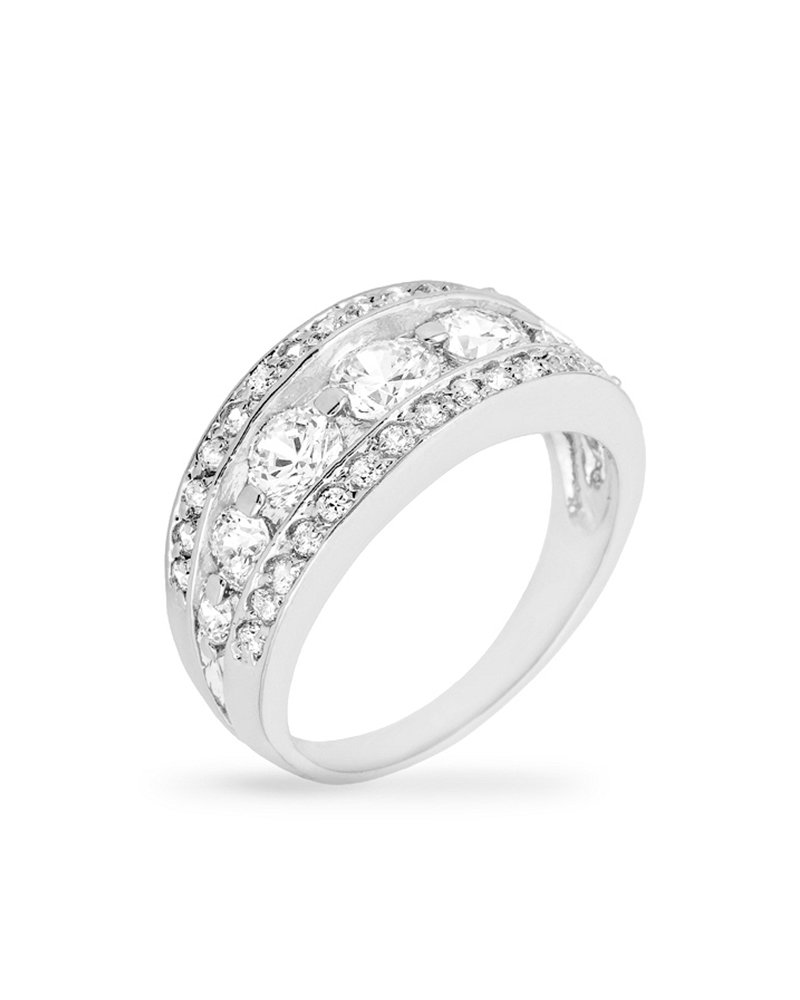 Genuine Rhodium Plated 7-Stone Anniversary Style Ring trimmed with Pave Cubic Zirconia Size 7