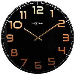 Unek Goods NeXtime Classy Wall Clock, 19.7 Diameter, Large, Round, Black with Big Shiny Copper Numbers, Glass, Decorative, Battery Operated