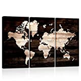 Kreative Arts - Modern Abstract Wall Art World Map Canvas Painting Vintage Style Picture Prints for Living Room Home Decor Ready to Hang (16x32inchx3pcs)