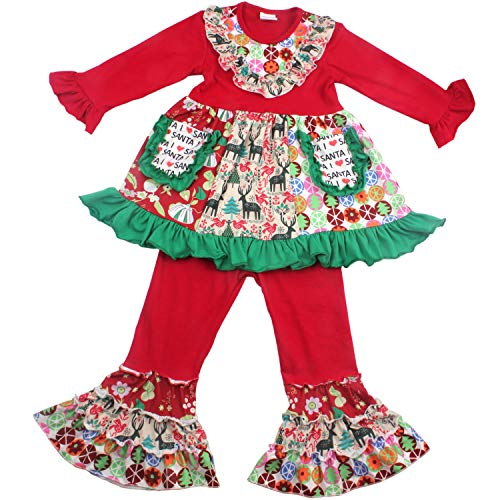 QLIyang Children Baby Girls Christmas Outfits - Infant 2 Pieces Long Sleeve Ruffle Dress & Pants Outfits for Girls 2T -