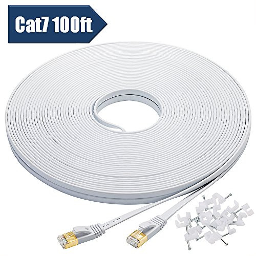 Bxton Cat 7 Ethernet Cable 100 Feet, High Speed 10 Gigabit Flat LAN Network Patch Cable with Cable Clips, Shielded RJ45 Connectors, Faster than Cat6 Cat5e - White (Molded Network Adapter)