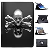 Chrome 3D Skull & Crossbones For Apple iPad Air 2 [2014 Version] Faux Leather Folio Presenter Case Cover Bag with Stand Capability