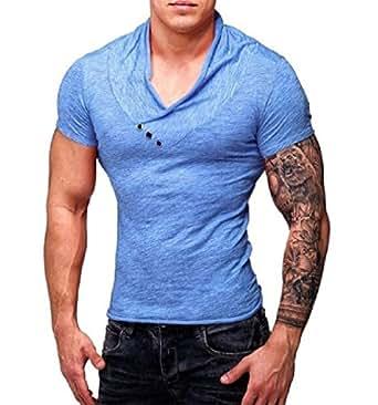 Mogogo Men's V-Neck Fashion Hipster Muscle Longline Tee Top T-Shirt Blue L