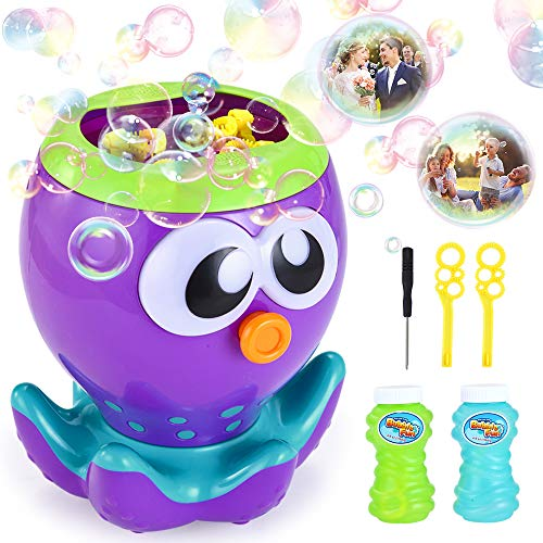 VATOS Bubble Machine for Kids Toddlers, Automatic Bubble Blower 1000+ Bubbles per Min for Party Wedding Birthday, Octopus Bubble Maker Toy Gift for Boys Girls Outdoor & Indoor, with 2 Bubble Solution]()
