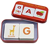 KINGSEVEN Anti-tear Flash Cards Learning Alphabet Puzzle Cards, Matching Puzzle Cognitive Early Educational Learning Toys with Mental Storage Box