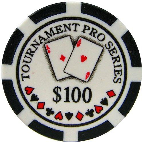 Trademark Poker Phil Hellmuth Tournament Pro Series 100 Dollars Poker Chips (Set of 50), Black