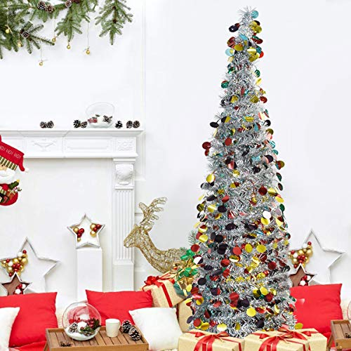 ElekFX Collapsible Christmas Trees 5ft Shiny Colorful Premium Tinsel Xmas Trees, Solid Metal Legs, Home/Shop/Party/Fireplace Decor - Silver