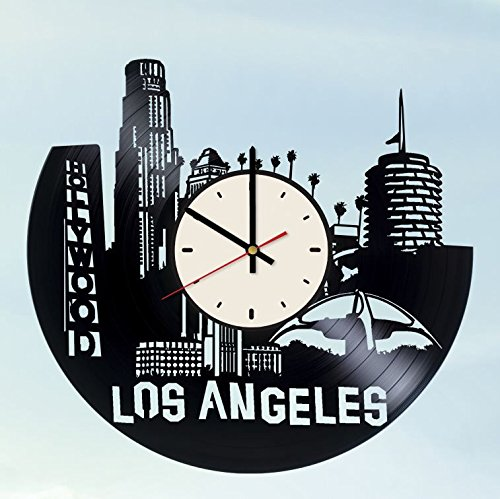 Skyline Los Angeles Vinyl Record Wall Clock Artwork Gift Idea For Birthday Christmas Women Men Friends Girlfriend Boyfriend And Teens