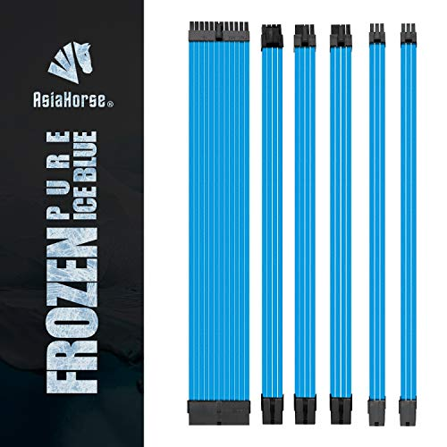 Asiahorse Customization Mod Sleeve Extension Power Supply Cable Kit 18AWG ATX/EPS/8-pin PCI-E/6-pin PCI-E (Pure ICE Blue)