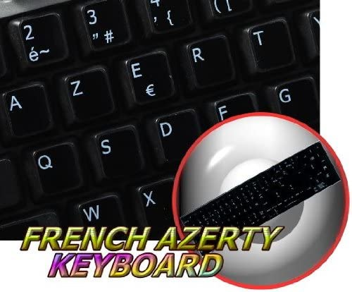REPLACEMENT FRENCH AZERTY KEYBOARD STICKER BLACK BACKGROUND