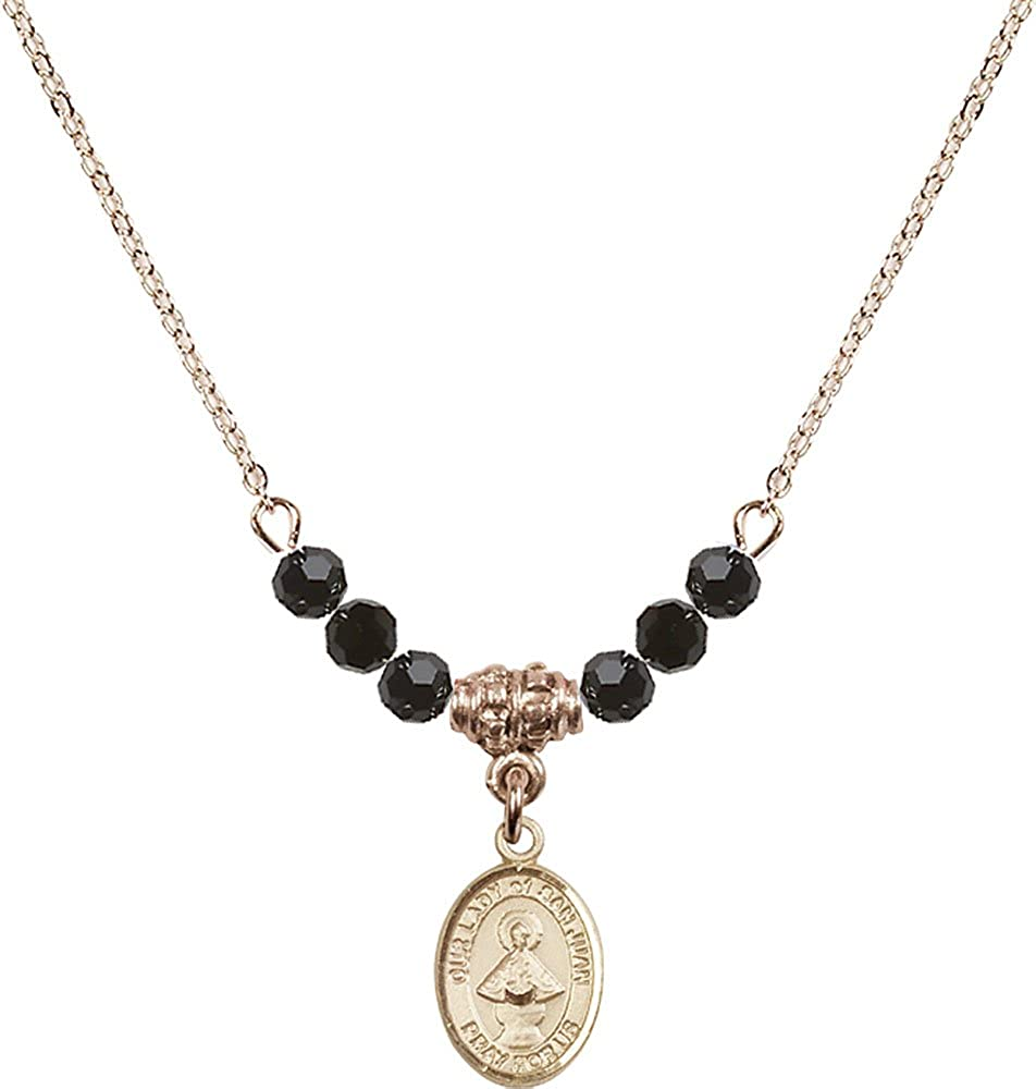 18-Inch Hamilton Gold Plated Necklace with 4mm Jet Birthstone Beads and Gold Filled Our Lady of San Juan Charm.