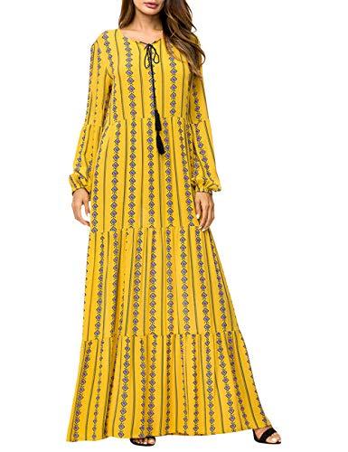 Longue Islamique Tomber Robe Mode pissure yellow Femme Manche pour Zhhlinyuan Musulmane Caftan Abaya Vetement qB1w45fA4