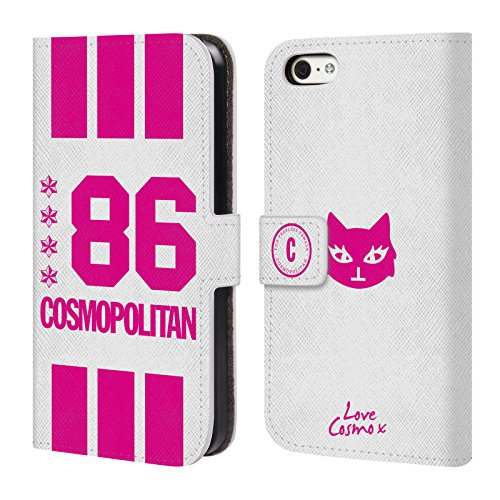 Official Cosmopolitan 86 Pink University Leather Book Wallet Case Cover For Apple iPhone 5c