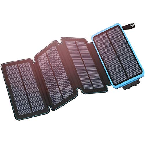 - Hiluckey Solar Charger 25000mAh Portable Solar Power Bank Waterproof Battery Packs with Dual Ports Solar Phone Charger for iPhone, Samsung, iPad, etc