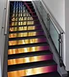 Stair Stickers Wall Stickers,13 PCS Self-adhesive,Musical Theatre Home Decor,Colorful Rays Concert Dance Music Staging Technology Smoky Night,Multicolor,Stair Riser Decal for Living Room, Hall, Kids R