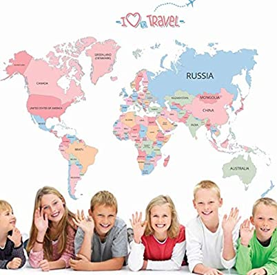 Colored English Letters World Map Wall Stickers Children Room