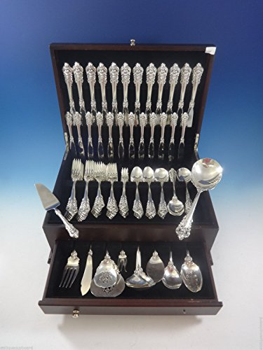 Grand Baroque Sterling Flatware - Grande Baroque by Wallace Sterling Silver Flatware Set For 12 Service 98 Pieces