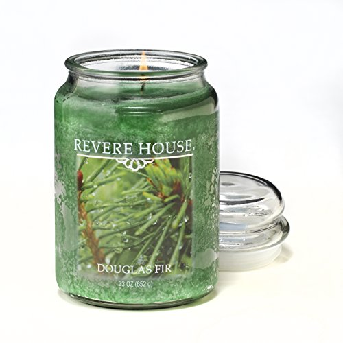(Candlelite Revere House Scented Douglas Fir Single Wick 23oz Large Glass Jar Candle, Fresh Woody Fragrance, 23 oz)