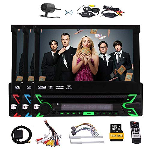 Car Stereo with Bluetooth, In-Dash Single Din Car Radio, 7 Inch Retractable Touch Screen, GPS Navigation Free 8GB Map Car, Car MP3 Player USB/SD/AUX/Wireless Remote Control & Rear Camera Included