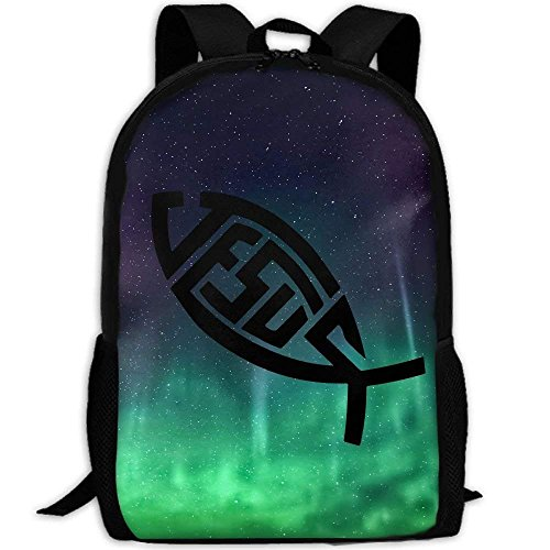 Backpack Jesus Symbol Fish Mens Laptop Backpacks Shoulder Bag School Daypack by CaiLii