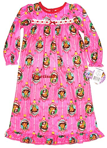 Explorer Nightgown - Dora the Explorer ~Christmas Adventure Flannel Gown~ Girls 4
