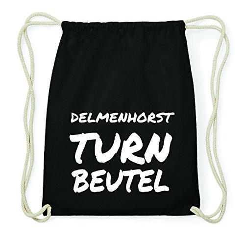 JOllify DELMENHORST Hipster Turnbeutel Tasche Rucksack aus Baumwolle - Farbe: schwarz Design: Turnbeutel aihnjA
