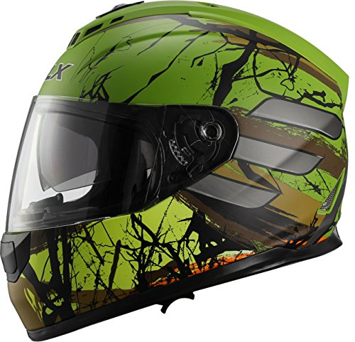 GLX Unisex-Adult GX15 Lightweight Full Face Motorcycle Street Bike Helmet with Internal Sun Visor DOT Approved (Totem, X-Large)