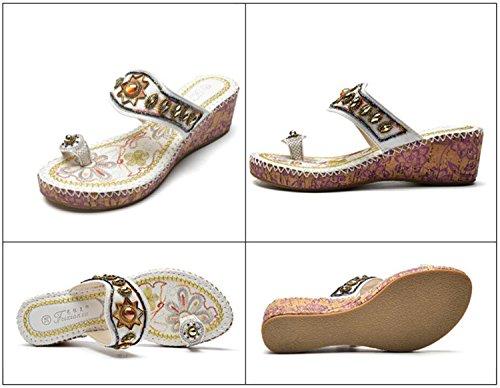 Sandales et Wedge Perlé Flops Style Summer Talon Ethnique DANDANJIE Brodé Femme Pantoufles Plage Strass Sandales Noir Flip Blanc Mode Chaussures Blanc wqY1a0v