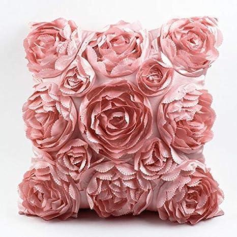 Almohadillas F-Jiujin Estilo Europeo Rosas 3D Bordado Funda ...