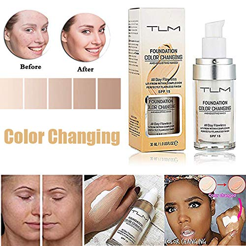 TLM Colour Changing Foundation,Concealer Cover Cream, TLM Flawless Colour Changing Warm Skin Tone Face Makeup Liquid Foundation Makeup Base Nude Face Moisturizing (TLM)