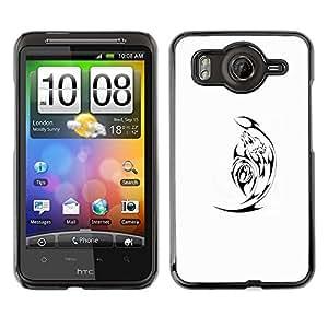 For HTC Desire HD / G10 / inspire 4GCase , Black Minimalist White Satan - Diseño Patrón Teléfono Caso Cubierta Case Bumper Duro Protección Case Cover Funda