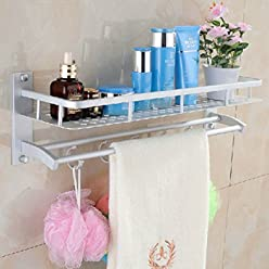 Space Aluminum Bathroom Towel Rack Holder Wall Storage Shelf BML Brand // Aluminio espacio en