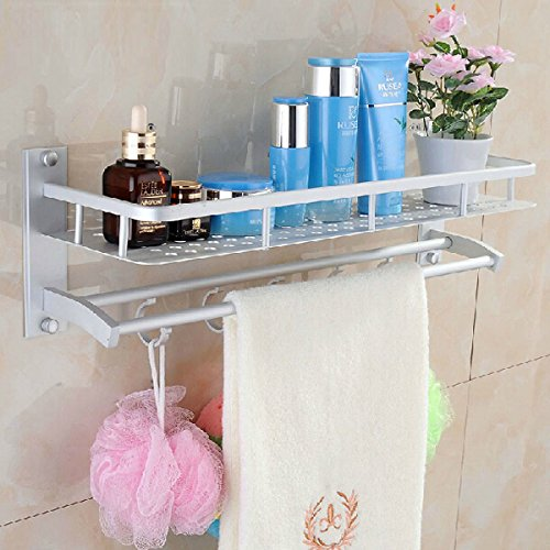 Space Aluminum Bathroom Towel Rack Holder Wall Storage Shelf BML Brand // Aluminio espacio en las estanteras de rack de almacenamiento de pared toallero bao en