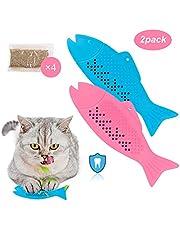 Katze Fischform Zahnbürste mit Katzenminze, Katzen-Zahnbürste Kauen Zahnreinigung Spielzeug Umweltfreundlich Silikon Molar-Stick, Haustier Interaktiv Fisch Flop Katzenspielzeug für Katzen 2 Pack
