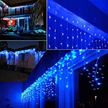 Lightspot 4M/13Ft 96 LED 8 Modes Curtain Window Decorative Room Patio Parties Rope String Wave Light (4M 96LED, Blue)