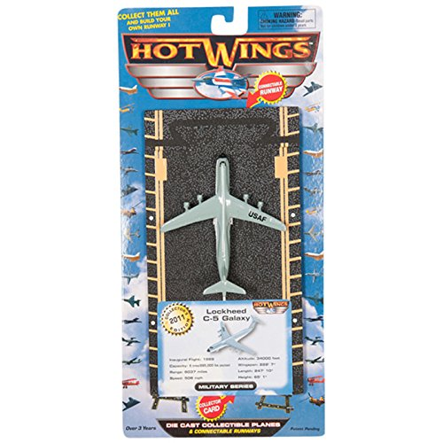 Hot Wings C-5 Galaxy with Connectible Runway Die Cast Model Airplane, (Hot Wings Diecast Toy Airplane)