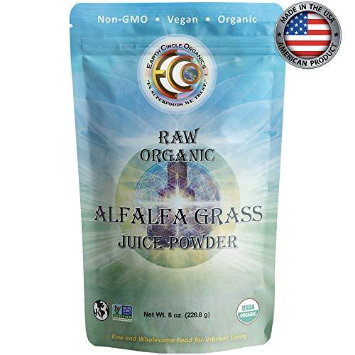 Earth Circle Organics USDA Certified Organic Raw Alfalfa Grass Juice Powder, Kosher, Vegan. Non GMO, 8 Ounce.