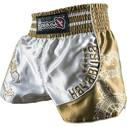Hayabusa Sacred Muay Thai Shorts, Silver/Gold, - Thai Muay Hayabusa Shorts