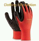 24paia di guanti da lavoro, rivestiti in lattice durevole, con salda presa di sicurezza, adatti per giardinaggio, L - 9, Black / Red, 60