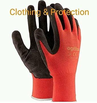 24 pares Nuevo con revestimiento de lá tex guantes de trabajo duradero de seguridad Jardí n Grip Builders, M - 8, negro/rojo, 60 Ogrifox