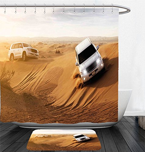 Safari Magnetic Activity Table (Nalahome Bath Suit: Showercurtain Bathrug Bathtowel Handtowel Sports Decor Race in African Desert Safari Adventure Exotic Hobby Activity Picture Sand Brown White)