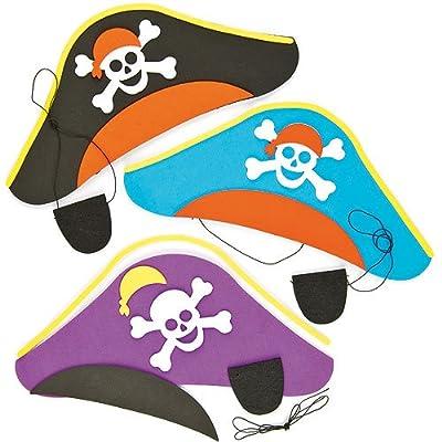 Baker Ross Lot de 3 Kits de Fabrication de Chapeaux + Cache-Oeils - Motif Pirates - Idéal pour les costumes de Pirates