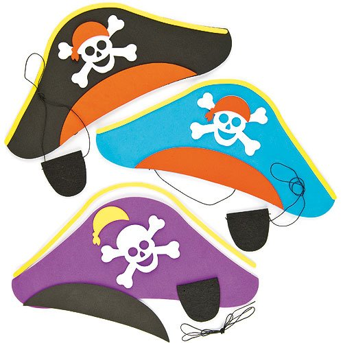 Baker Ross Foam Pirate Hat & Felt Eye Patch Kits Complete with Sticky Decorations & Elastic, Children's Craft Activities Kits (Pack of 3)
